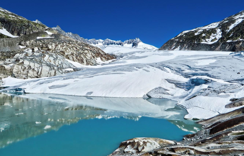 Photo wallpaper mountains, Switzerland, glacier, Alps, Switzerland, Alps, Goms, Rhone Glacier, Rhone glacier, GMA, Furka Pass, the …