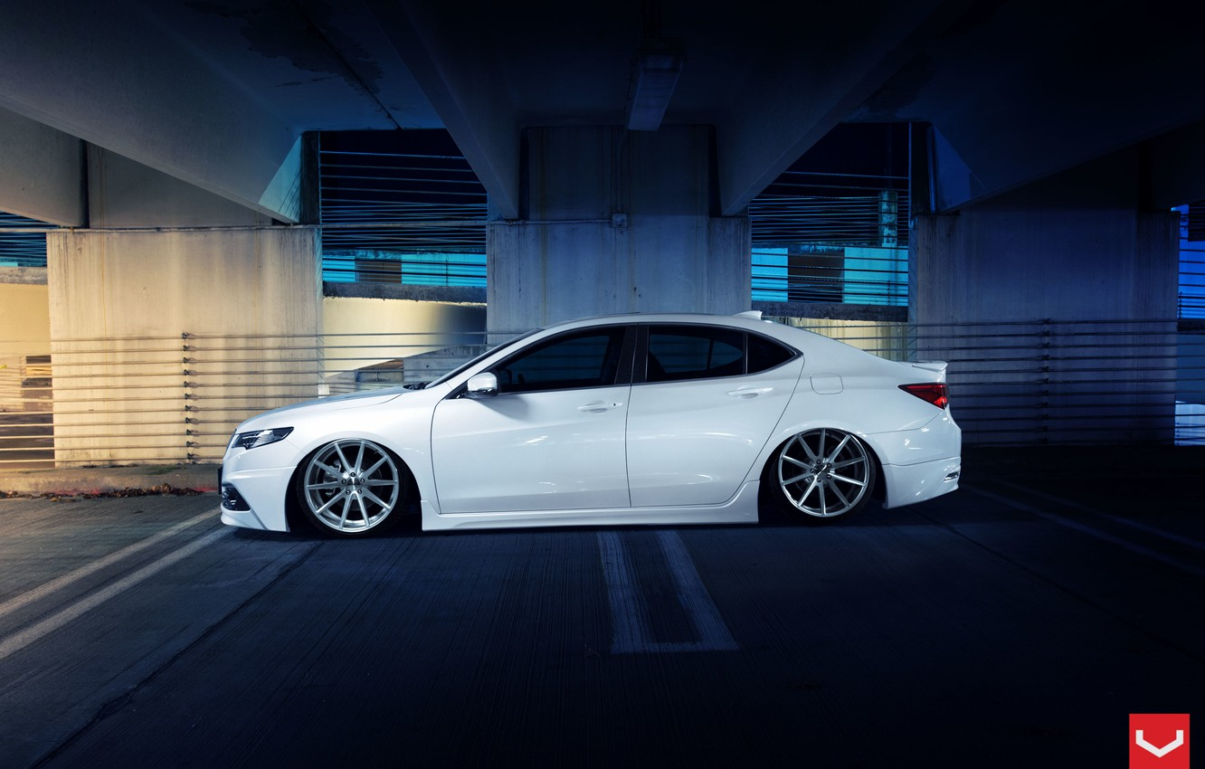 Photo wallpaper Car, White, Side, Tuning, Acura, Vossen, Wheels, TLX, Nigth
