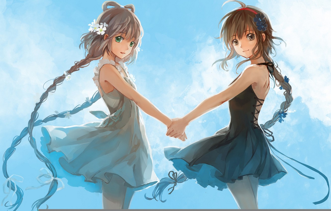 Photo wallpaper the sky, clouds, flowers, smile, girls, anime, art, braids, vocaloid, hands, luo tianyi, yuezheng ling, …