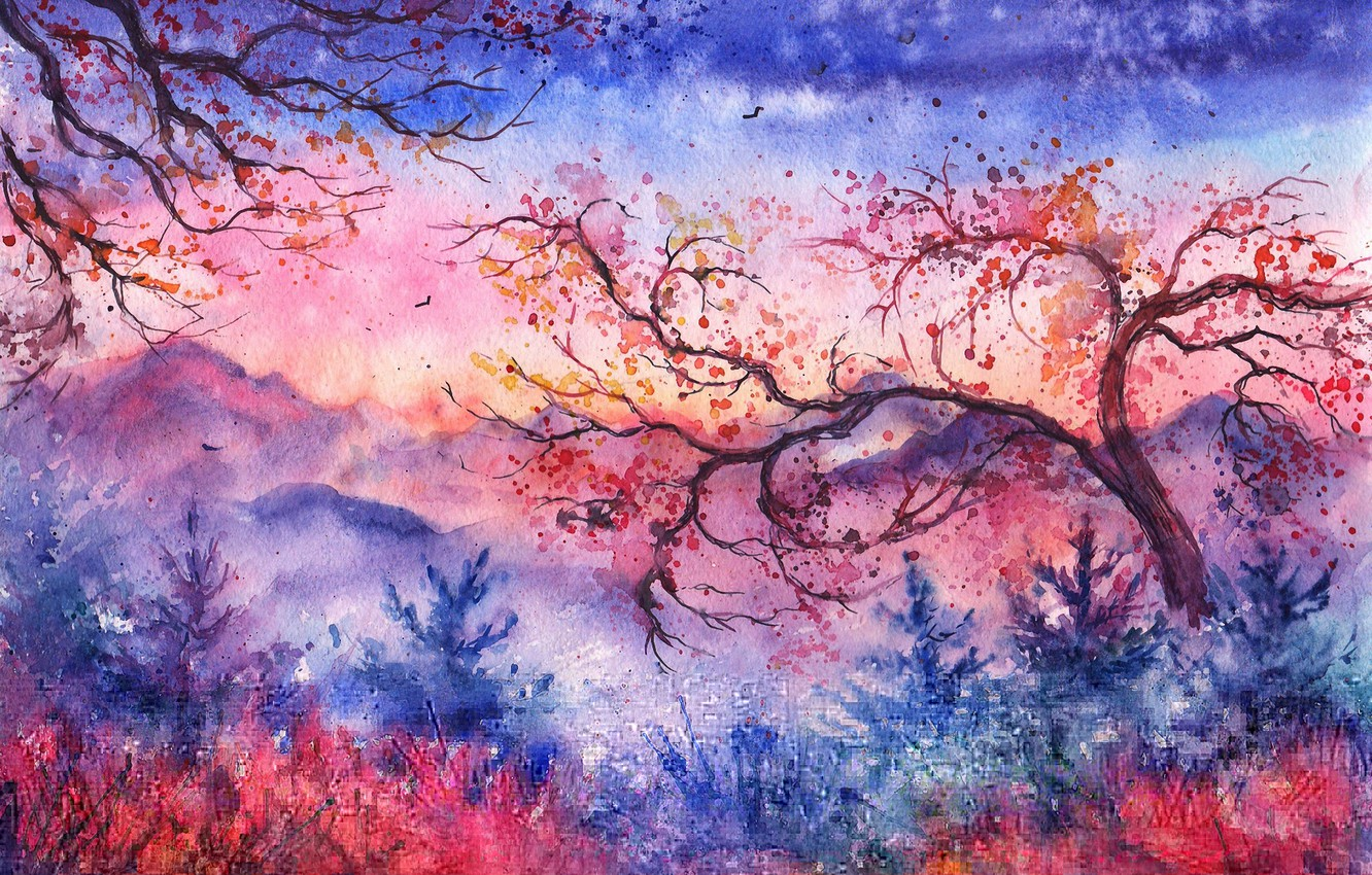 Photo wallpaper trees, sunset, mountains, birds, foliage, the evening, watercolor, tree, painted landscape