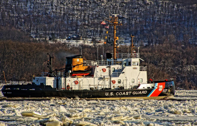 Photo wallpaper river, tug, ice, Hudson, ice class