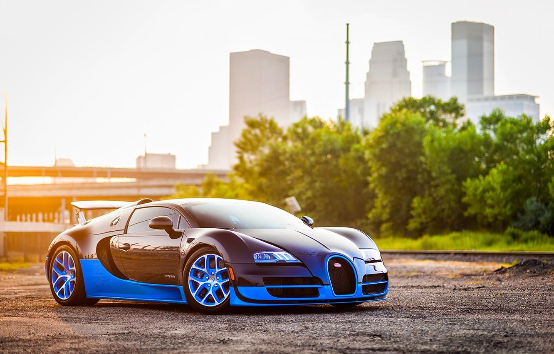 Photo wallpaper Bugatti, Grand, Veyron, Blue, Front, Sun, Sport, Supercar, Spoiler, Ligth, Vittesse