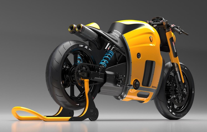 Photo wallpaper Concept, Koenigsegg, Yellow, Bike, Studio, Wheels, Brake, Rear