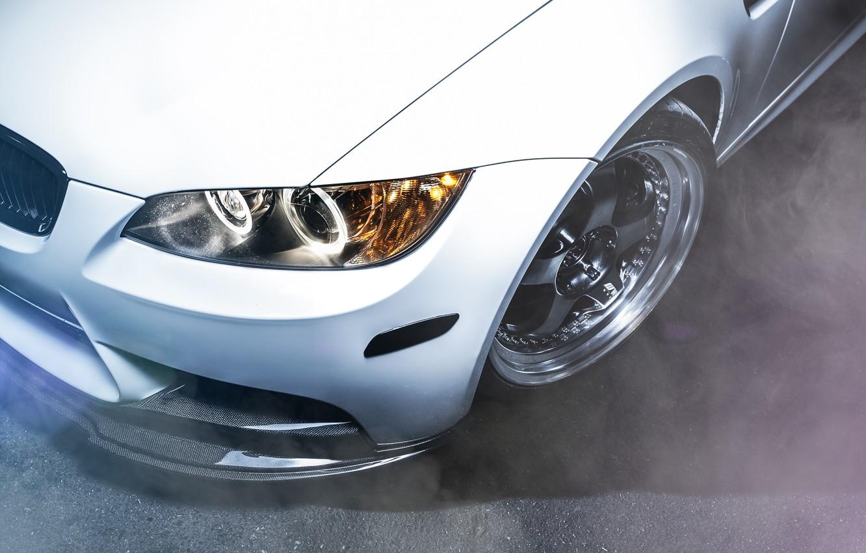Photo wallpaper white, BMW, headlight, wing, BMW, white, front, E92