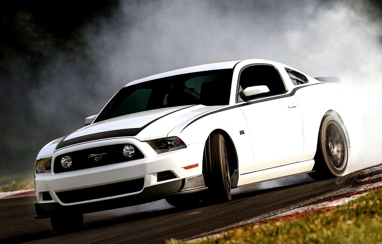 Photo wallpaper Smoke, Machine, White, Ford, Skid, Mustang, Drift, Drift, Car, 2012, Ford Mustang, Car, White, RTR, …
