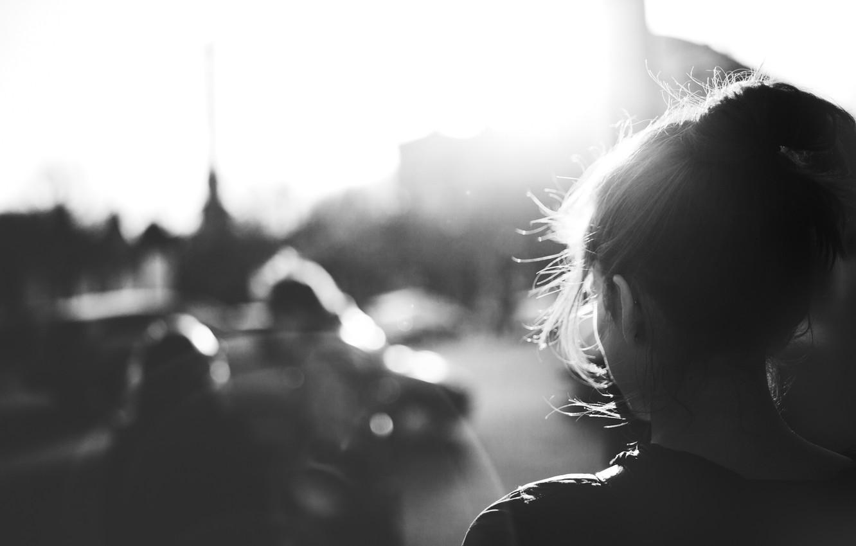 Photo wallpaper girl, hair, black and white