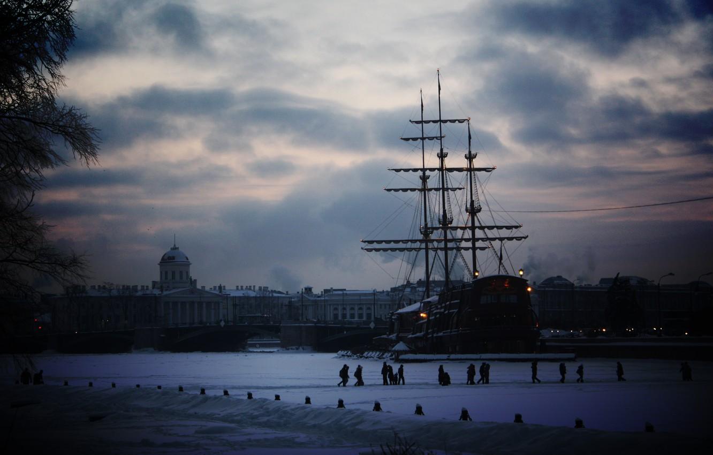 Photo wallpaper winter, snow, the city, ship, sailboat, Peter, Saint Petersburg
