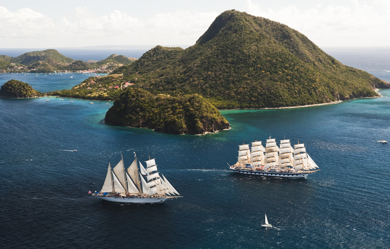 Photo wallpaper Islands, the ocean, sailboats