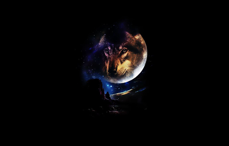 Photo wallpaper look, stars, mountains, night, the moon, wolf