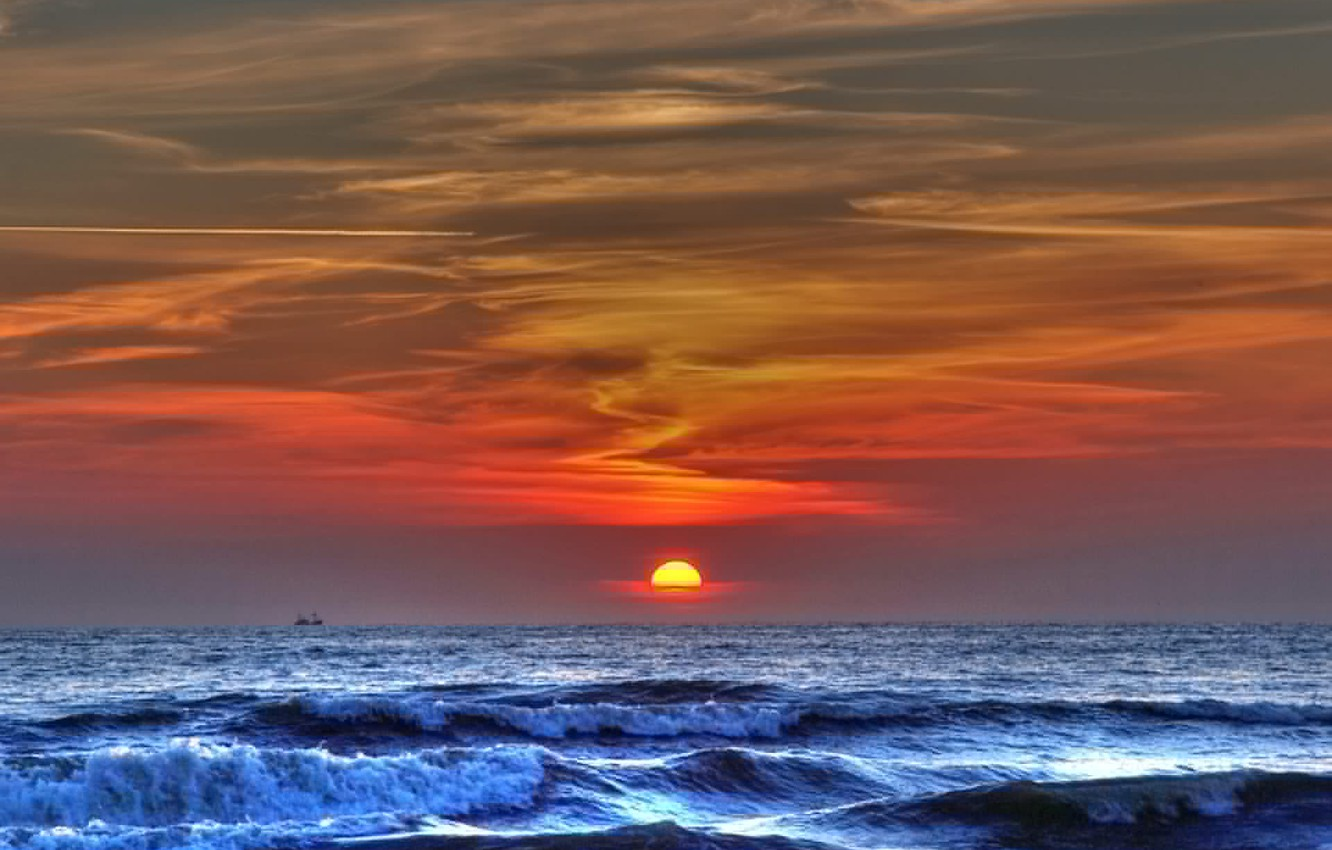 Photo wallpaper wave, Sunset, hdr