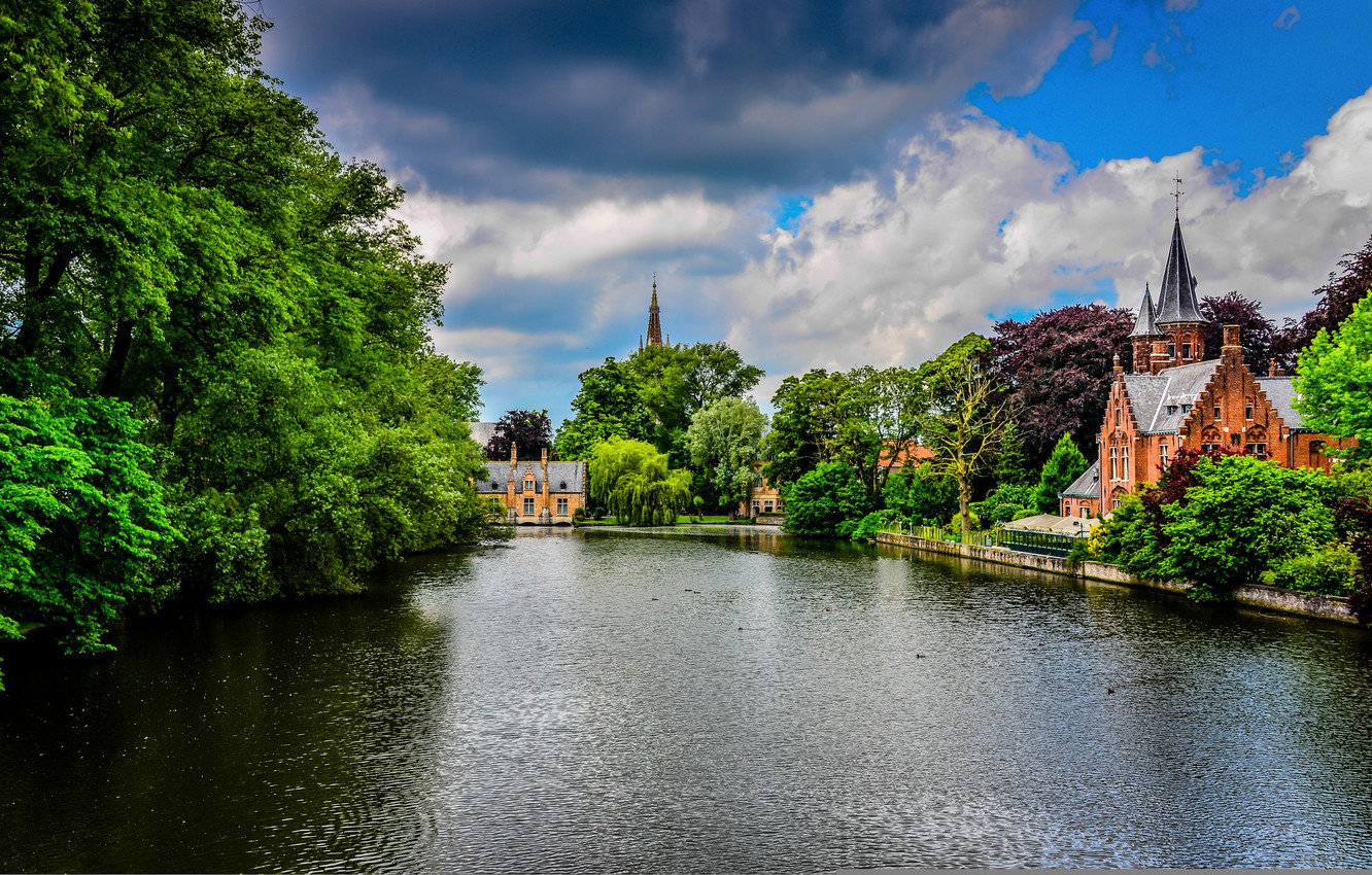 Photo wallpaper greens, the sky, trees, clouds, nature, the city, Park, river, castle, building, channel, Belgium, architecture, …