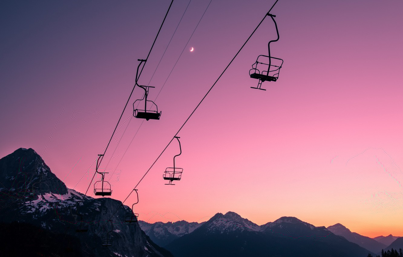 Photo wallpaper the sky, sunset, cable car