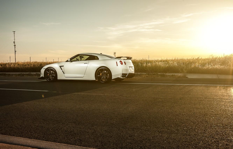 Photo wallpaper road, white, sunset, nissan, white, Nissan, gt-r, GT-R, r35