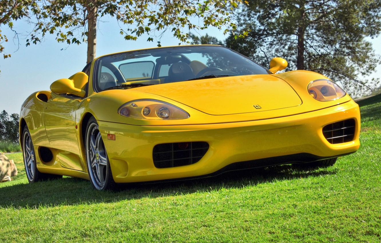 Photo wallpaper yellow, convertible, Ferrari, 360, yellow, spider, Spider, Ferrari 360