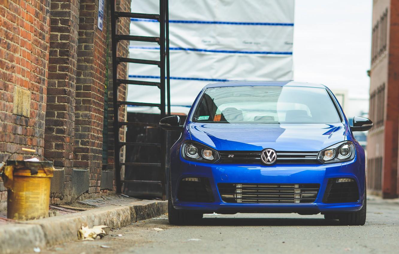 Photo wallpaper blue, volkswagen, ladder, Golf, blue, Volkswagen, golf R