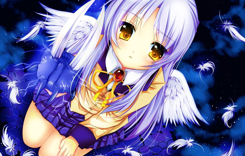 Photo wallpaper girl, wings, anime, feathers, art, schoolgirl, angel beats!, angel beats, kanade tachibana