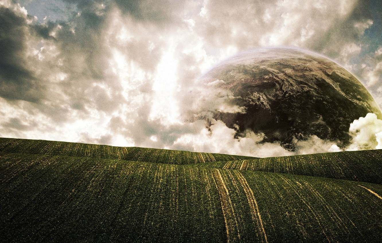 Photo wallpaper clouds, planet, Field