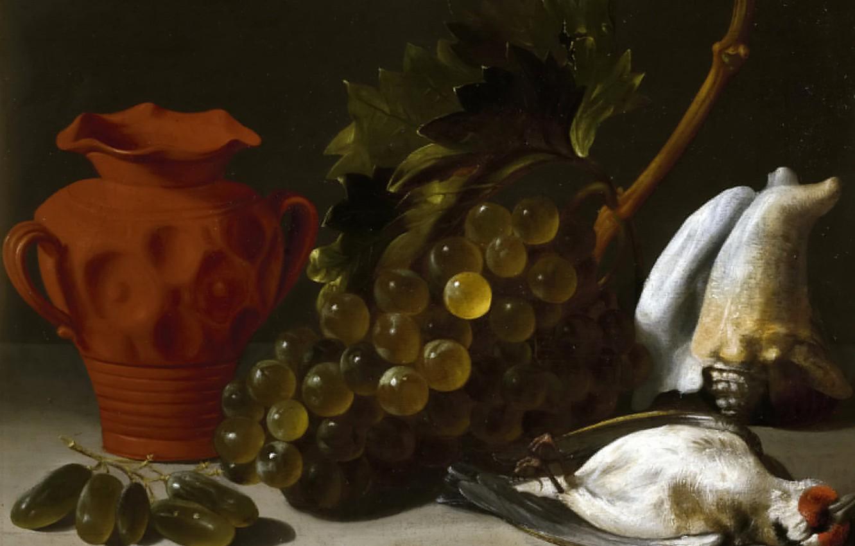 Photo wallpaper picture, grapes, vase, Still life with Dead Bird, Juan Bautista de Espinosa