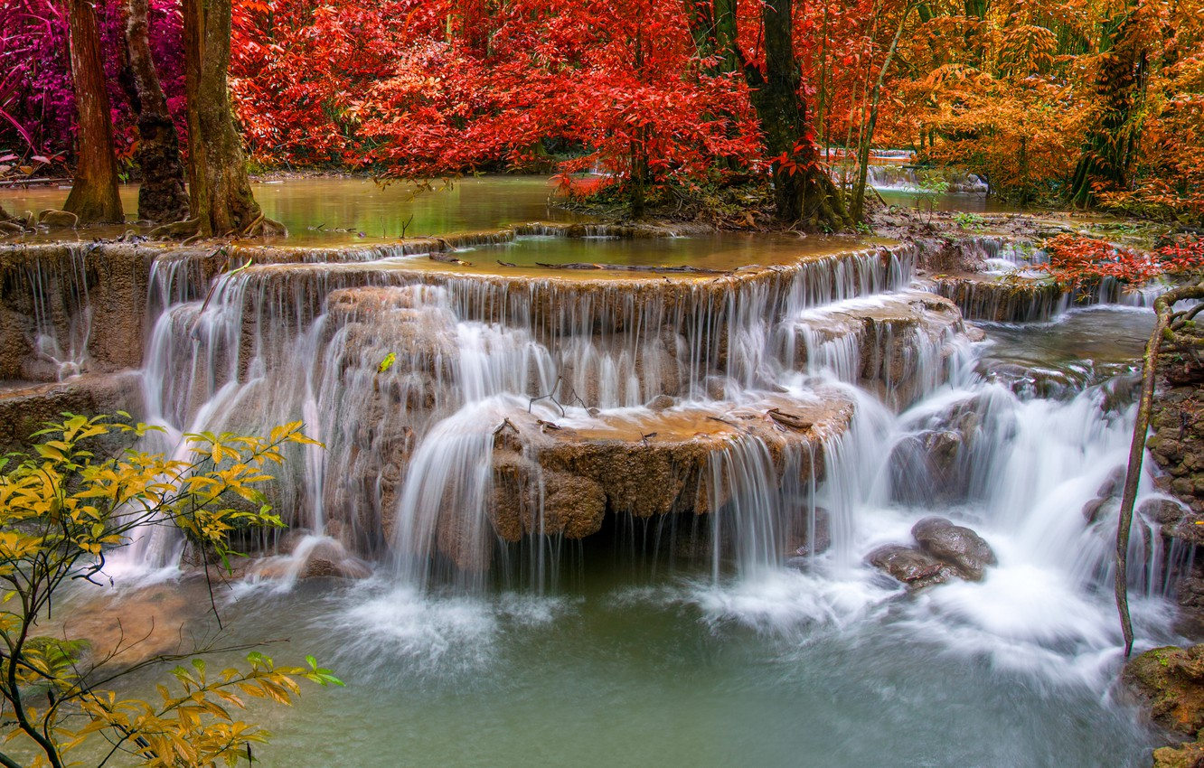 Photo wallpaper autumn, landscape, waterfall, beauty, nature, water, autumn, waterfall
