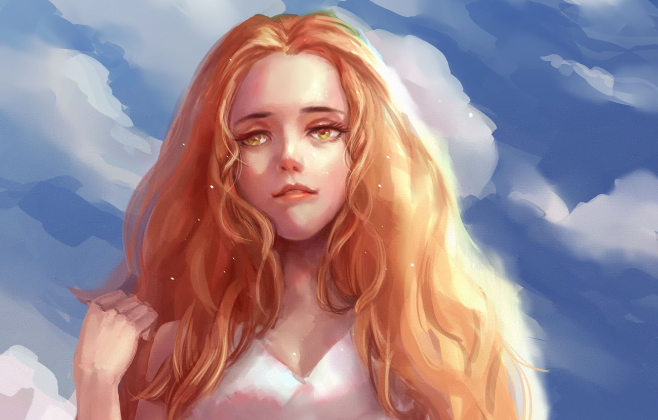 Photo wallpaper the sky, look, girl, clouds, hair, hand, art, red, painting