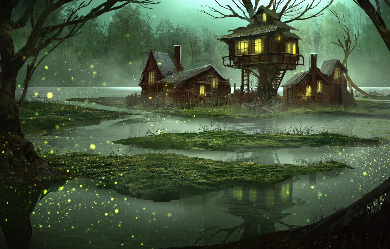 Photo wallpaper forest, water, house, fantasy, swamp, tale, the evening, art