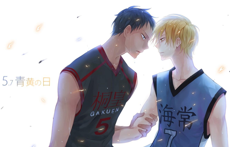 Photo wallpaper anime, guys, shackle, sweat, blonde, Kise Ryouta, kuroko's basketball, Kuroko from Basket, Dikes, Five, Cise …