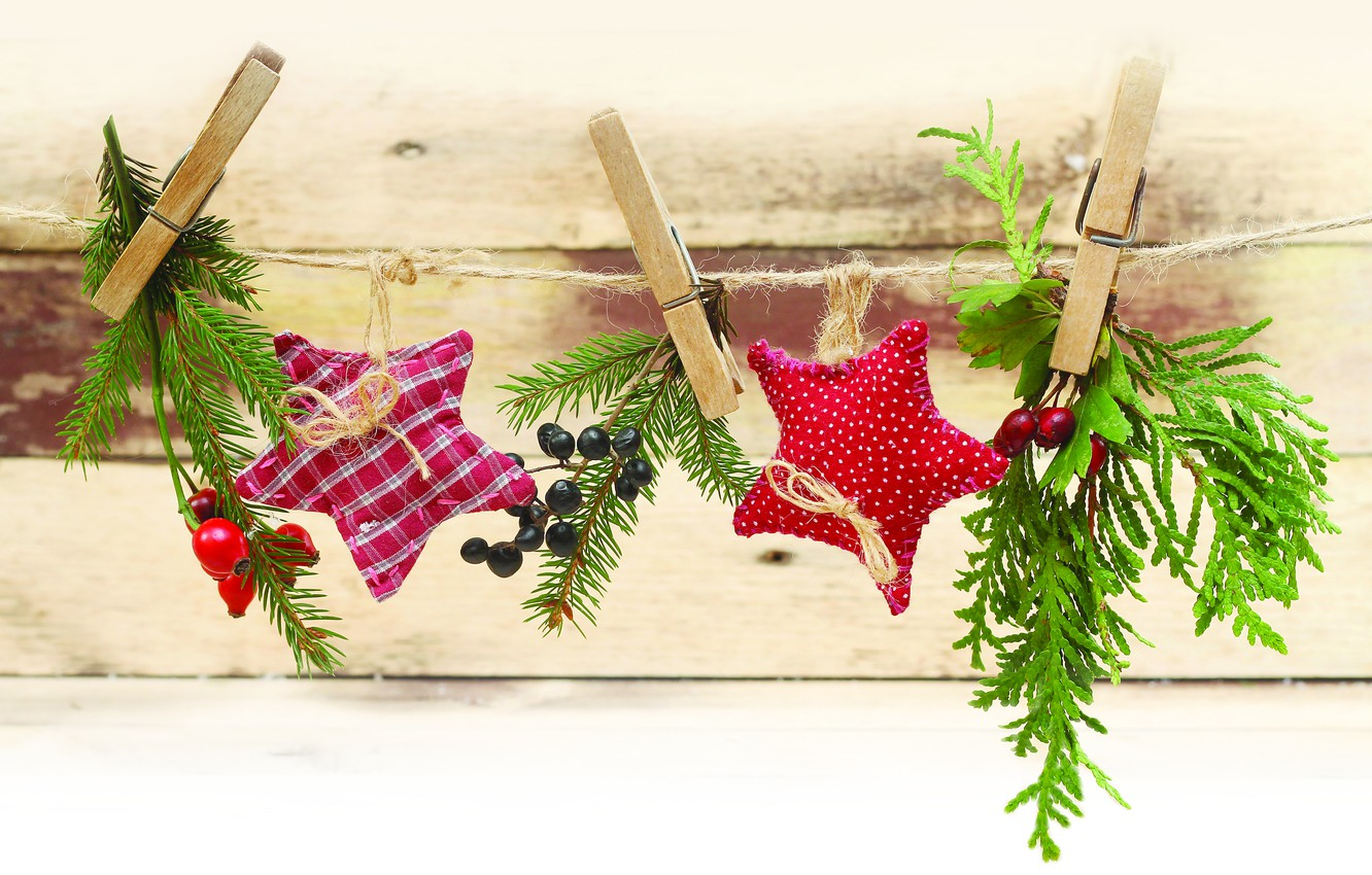 Photo wallpaper decoration, holiday, rope, New year, stars, clothespins, twigs