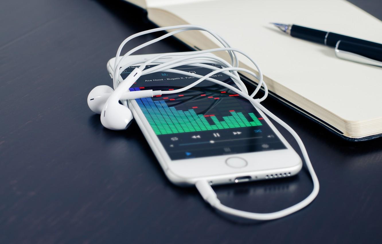 Photo wallpaper apple, headphones, phone, iphone
