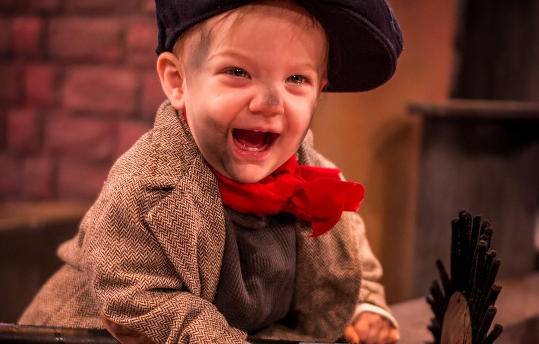 Photo wallpaper joy, mood, boy, cap, chimney sweep