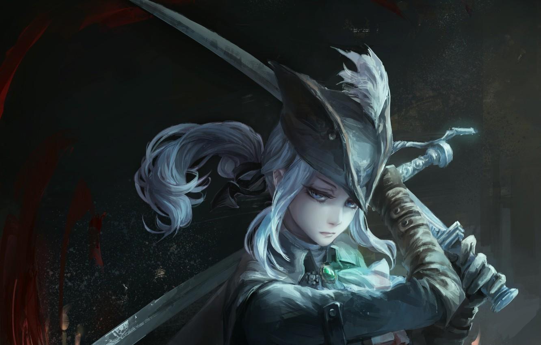 Photo wallpaper girl, sword, art, bloodborne, jlien