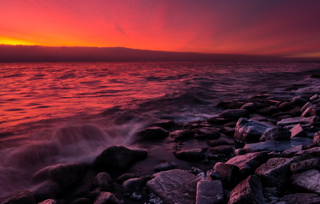 Photo wallpaper sand, sea, wave, the sky, sunset, red, clouds, stones, shore