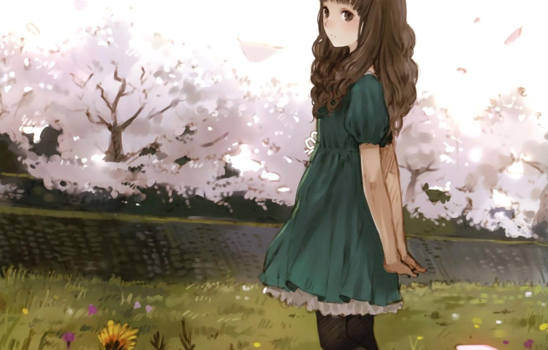 Photo wallpaper girl, trees, flowers, anime, Sakura, art, kishida mel