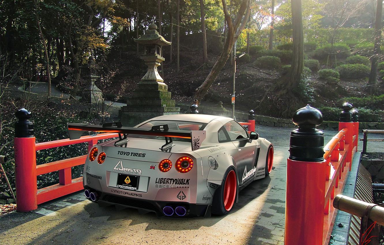 Photo wallpaper GTR, Japan, Nissan, Car, R35, Sport, Silver, Rear, Liberty, Walk