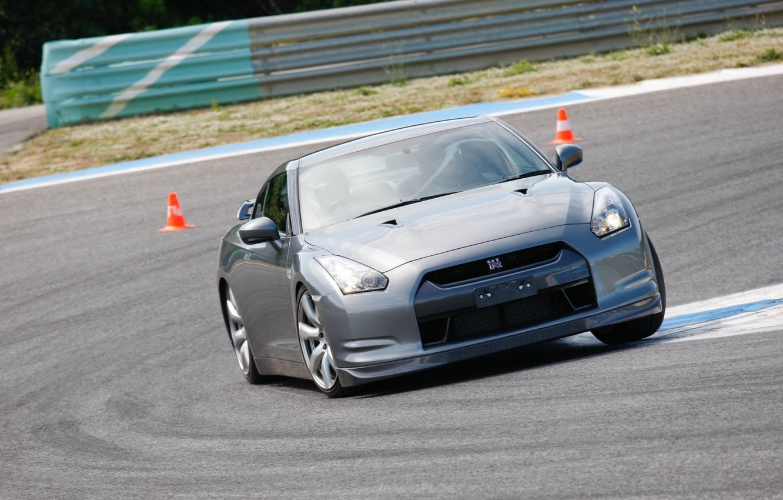Photo wallpaper silver, sportcar, track, R35, Nissan GTR