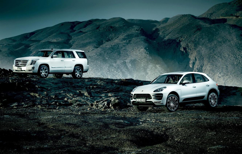 Photo wallpaper Cadillac, Porsche, Escalade, Landscape, Mountain, White, SUV, Village, Macan