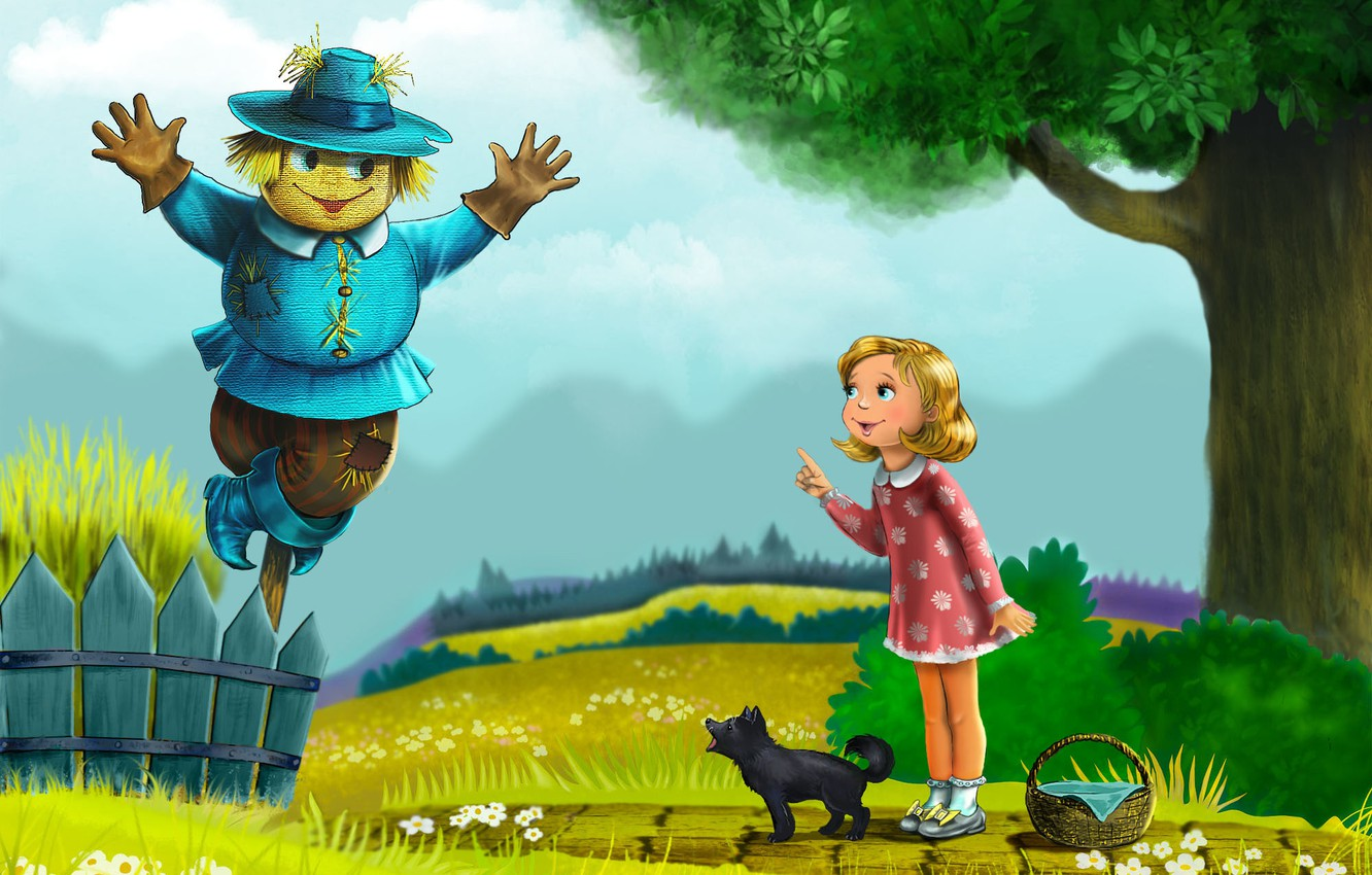 Wallpaper Cartoon Tale Wolves Ellie Scarecrow Toto The