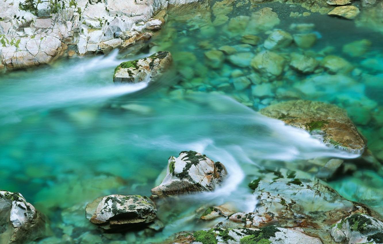 Photo wallpaper water, river, stones, stream