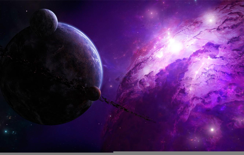 Photo wallpaper stars, nebula, planet, asteroids, belt, gorgeous, drawn