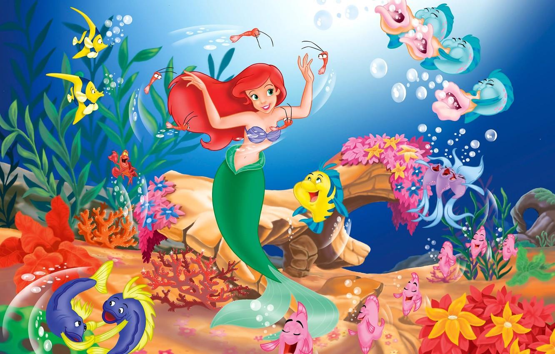 Photo wallpaper fish, cartoon, Ariel, song, the little mermaid