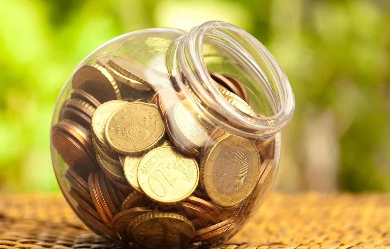 Photo wallpaper money, piggy, blur, Bank, coins, plastic, bokeh, macro., bank, coins, plastic