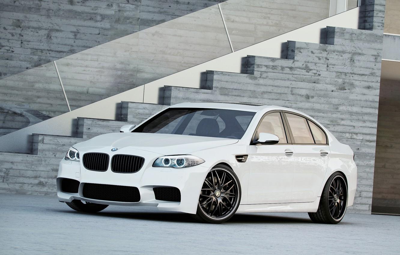 Photo wallpaper white, bmw, BMW, ladder, white, wheels, black, side view, f10, daylight, black rims
