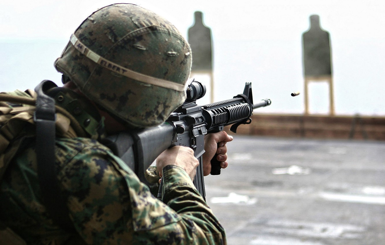 Photo wallpaper weapons, bullet, soldiers, shooting, camouflage, sight, rifle, soldier, target, assault, bullet, rifle, ar-15