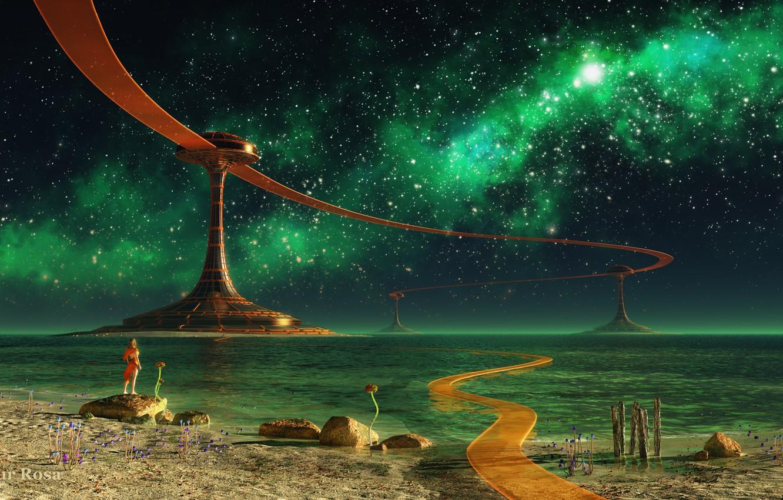 Photo wallpaper road, sea, water, girl, stars, landscape, night, lake, stones, facilities, render, colony