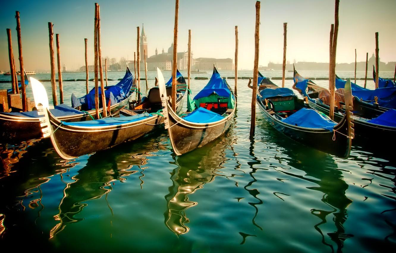 Photo wallpaper water, boat, Italy, Venice, channel, gondola