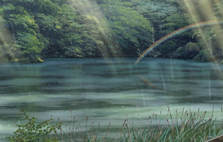 Wallpaper Greens Nature Rain Park Anime Foliage Makoto