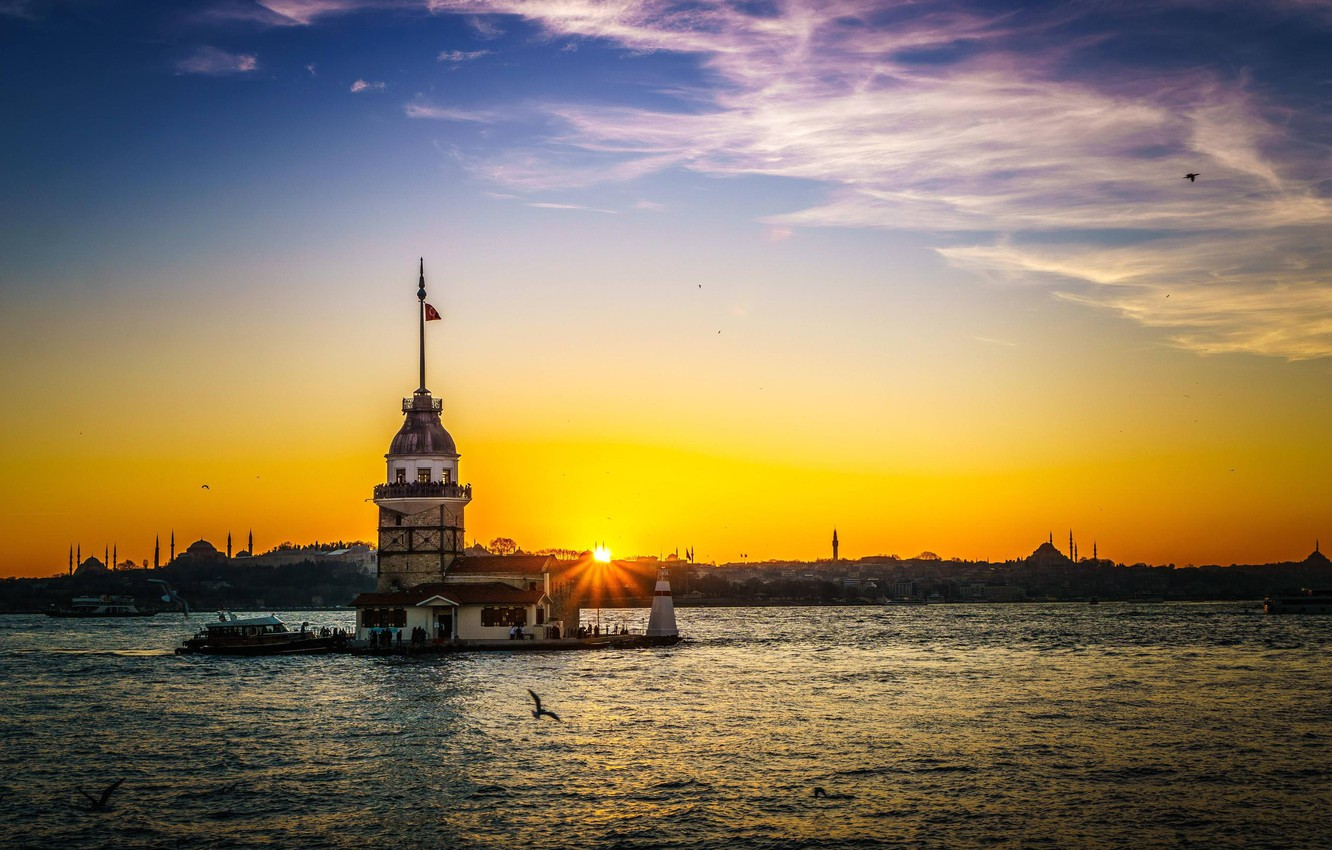 Photo wallpaper the sky, clouds, sunset, island, Istanbul, Turkey, the Bosphorus, Maiden tower