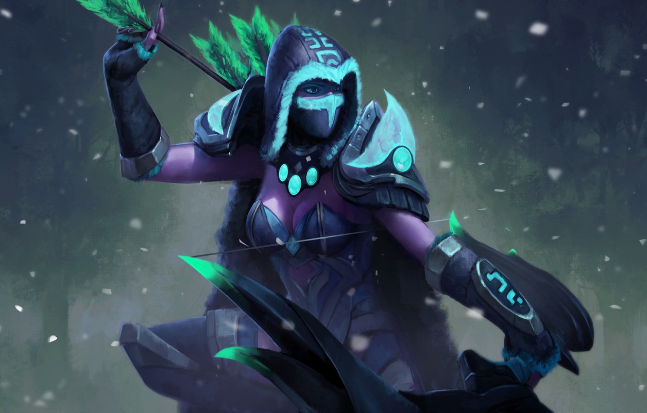 Wallpaper Girl Bow Archer Art Hood Arrows Traxex Dota 2 Drow