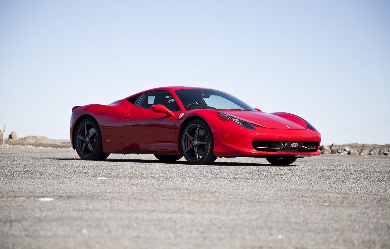 Photo wallpaper the sky, asphalt, red, shadow, red, ferrari, Ferrari, side view, Italy, 458 italia
