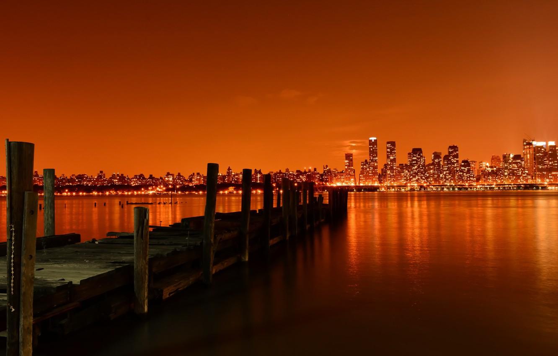 Photo wallpaper night, new york city, pier, hudson river, weehawken, Last Call