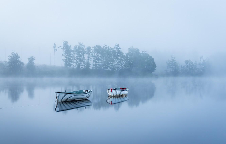 Photo wallpaper fog, lake, boats